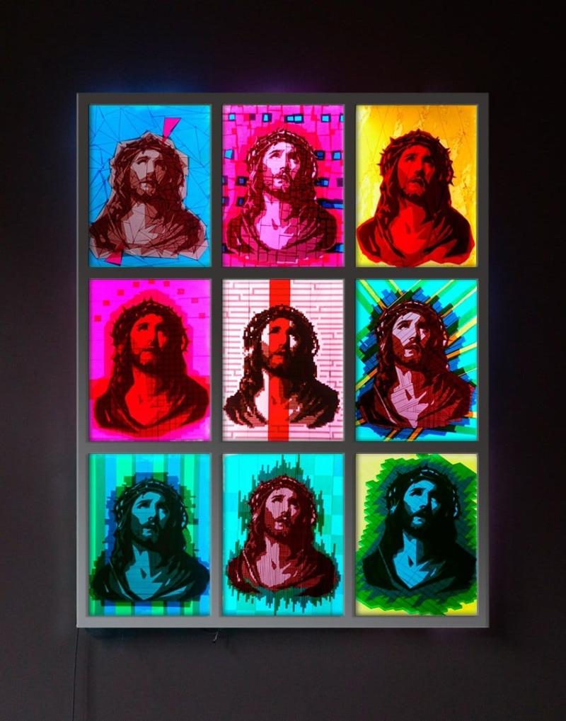 OMG -Pop-Art-Kunstwerk aus Paketklebeband-Tape-Künstler Ostap 2014