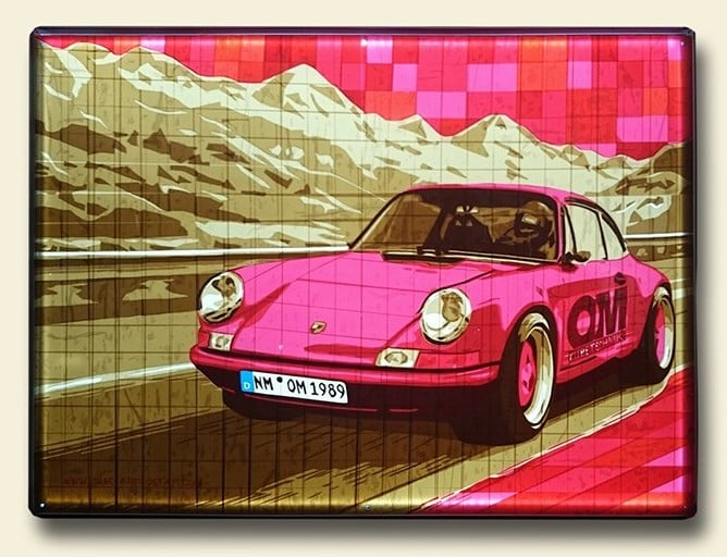 "Image of commissioned packing tape art ""Porsche 911"""