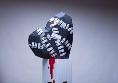 Titelbild- Tape Art Skulptur Herz