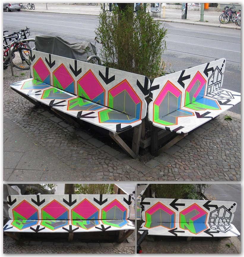 "Tape street art bench- ""God bless you, Berlin!"", artist Ostap, 2012."