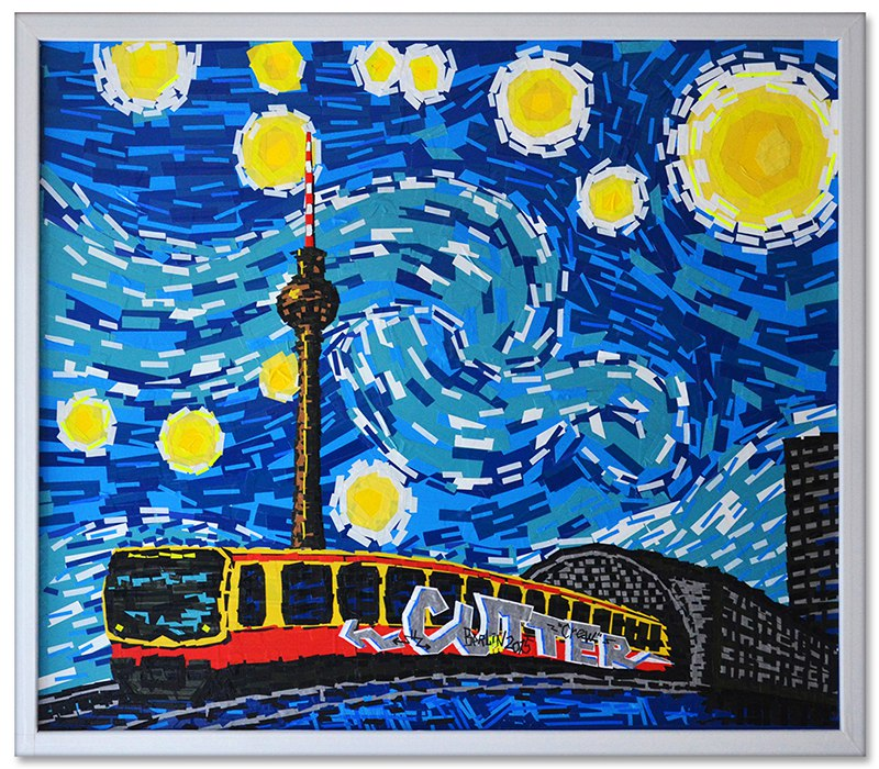 Berlin Starry Night- Ostap feat. Van Gogh - duct tape art- 2014