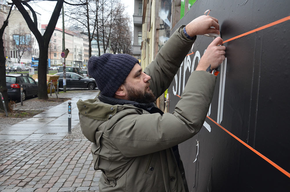 Tape artist Slava Ostap create duct tape graffiti in Berlin for Stromae