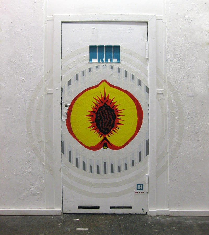 The Door-Peach- Duct Tape graffiti at Neurotitan Gallery-Berlin 2015