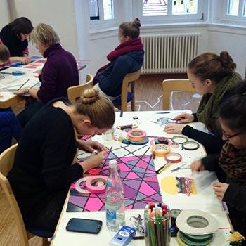 Tape Art Workshop für Jugendliche in einer Schule in Koblenz