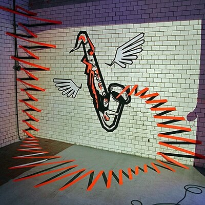 the sound-3d duct tape graffiti-Ostap artist-2014- featured image