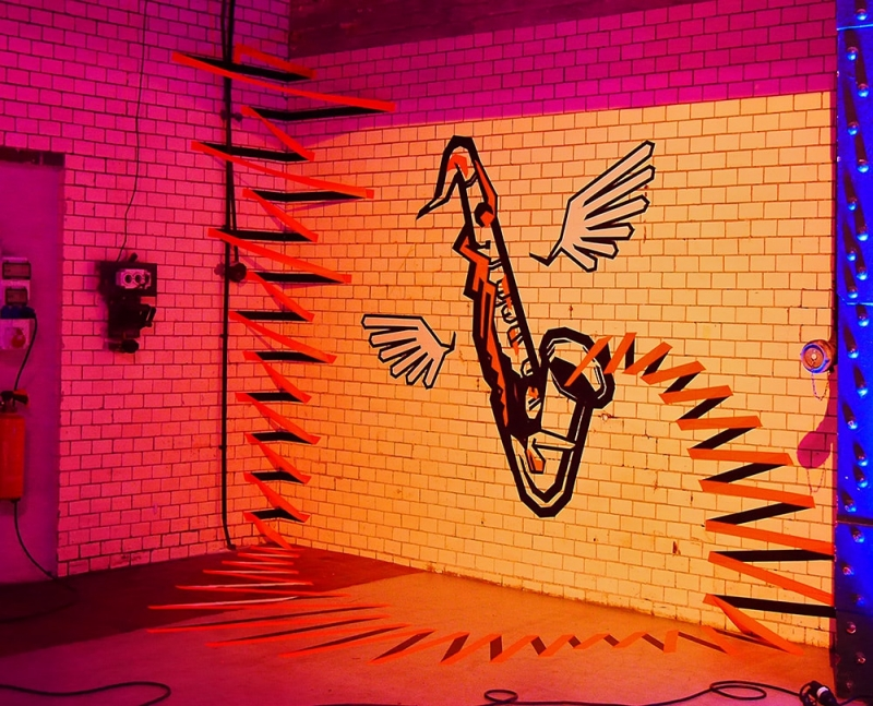 the sound-3d duct tape art- Ostap artist-commission RBC Bank-2014