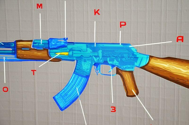 Closeup image of AK 47- tape pop art work by Slava Ostap-2015
