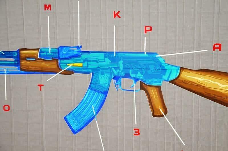 Nahaufnahme von AK 47- Pop-Tape-Art aus Klebeband