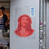 Jesus visa card- stencil street art- Ostap 2014