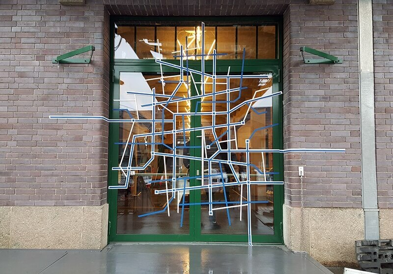 Picture of tape art contract for BMBF event- entrance