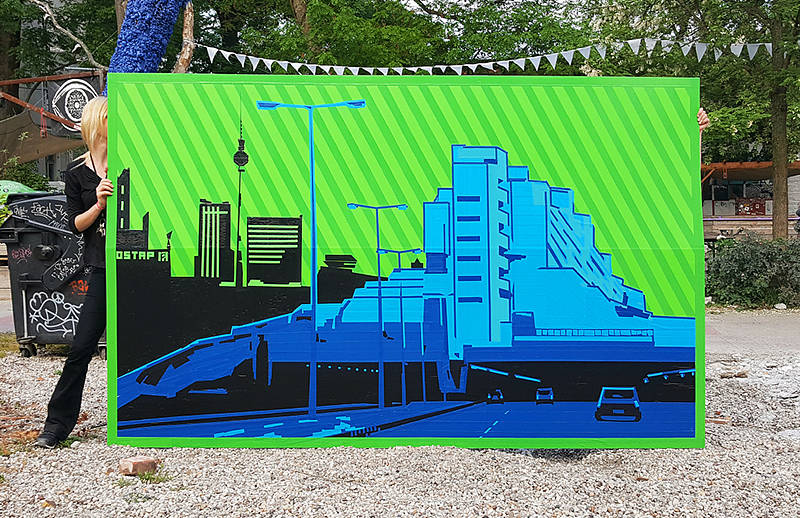 Image 1- Berlin skyline- live tape art by Ostap for gewobag