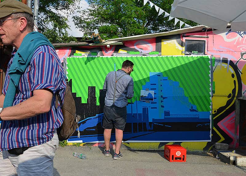 Image 2- Making of- Berlin skyline- tape art by Ostap-2016