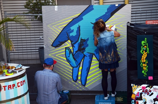 "image 03- ""Selfmade crew"" in action at ""Yard 5"" Street Art Jam 2016"