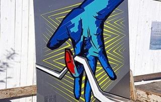 "Beitragsbild- Die ""Selfmade crew"" Logo-Tape Art auf Rooftop Gallery Jam-Berlin-2016"