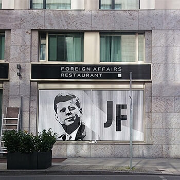 JFK Portrait, 2015, Artwork on the facade of the JFK-Arcotel Berlin made of GAFFA adhesive tape on glass window