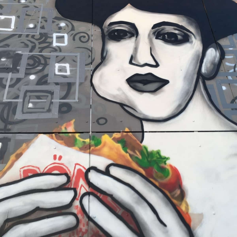 Close-up - Portrait of Adele Bloch-Bauer with Döner Kebab- Street Art by Selfmadecrew- Abhörstation- Berlin-Teufelsberg 2016