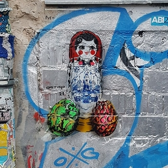 Matreshka- Faberge eggs- stencil street art- Ostap 2016