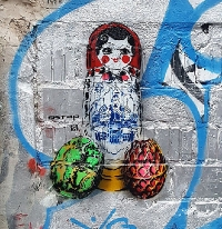 Matreshka- stencil street art by Ostap in Berlin- Featured image