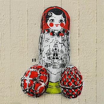 Matroschka- Stencil Street Art- Vorschaubild