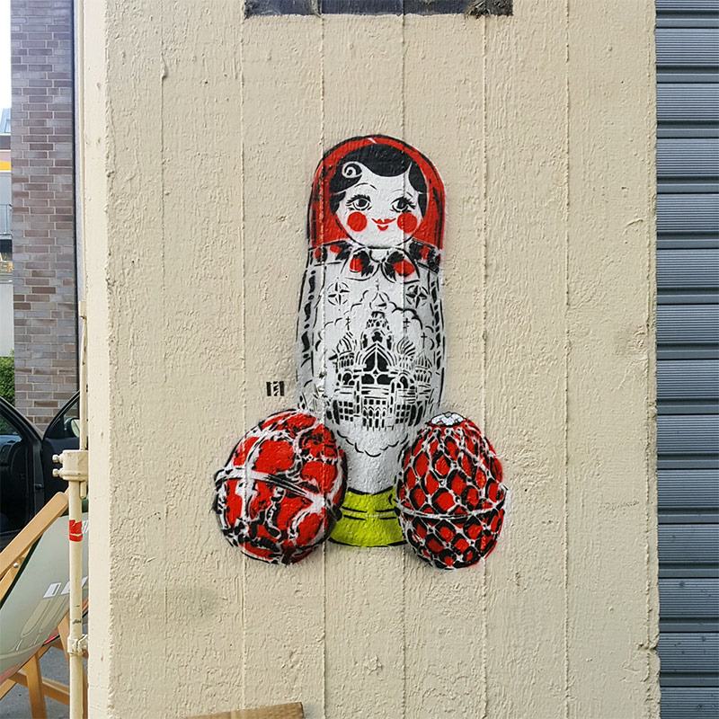 Matryoshka- Stencil Street Art- The Haus Berlin-2017