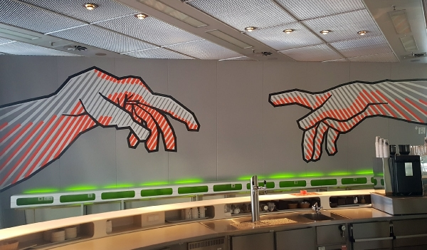 Panoramabild- Michelangelo-Gottes Hände-Tape Wand Kunstwerk- DGPS 2016- Selfmadecrew