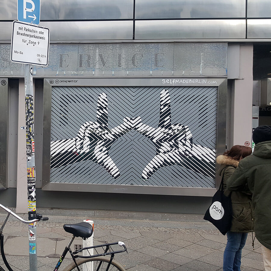 The Haus- Berlin Art Bang- Logo- two hands- tape street art- Selfmadecrew 2017