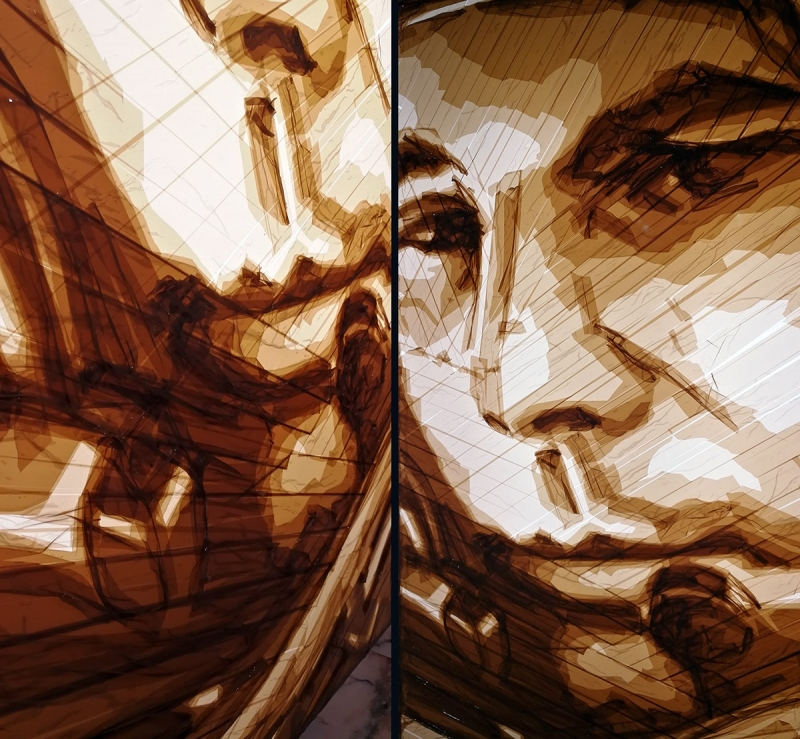 Exit to-portrait of Gagarin out of brown tape-closeup