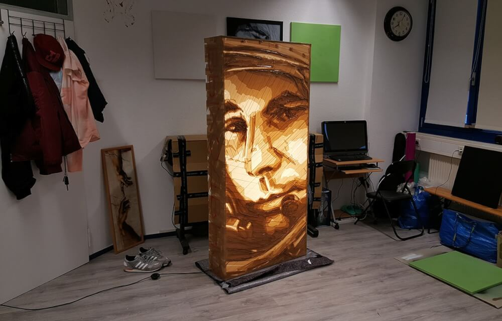 Yuri Gagarin-brown packing tape portrait at atelier