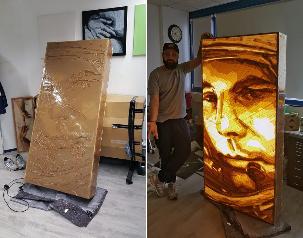 Tape artist's Ostap atelier-Yuri Gagarin packing tape portrait