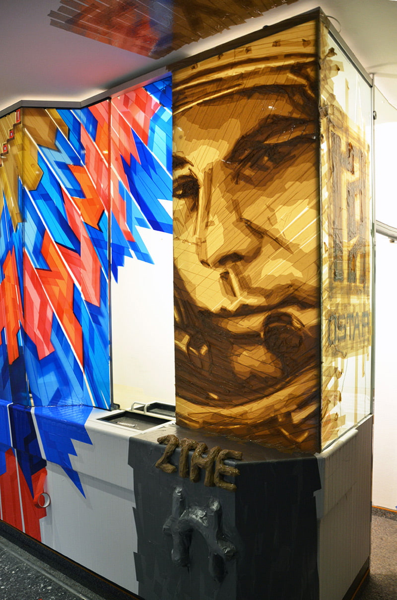 Packing tape art cosmonaut portrait- The Haus-Berlin Art Bang