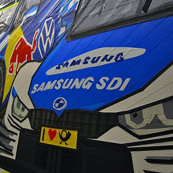 Race Cars Graffiti in ZF Factory Building - Adhesive Tape Art by Selfmadecrew