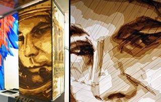 Juri Gagarin- Paketklebeband-Kunst-Kosmonauten-Porträt- Vorschaubild