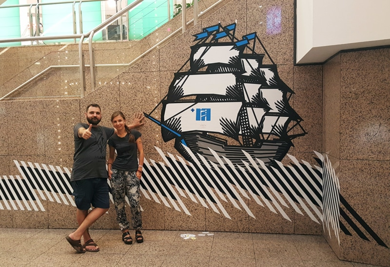 Sailing ship-duct tape mural by Selfmadecrew-Hamburg 2016