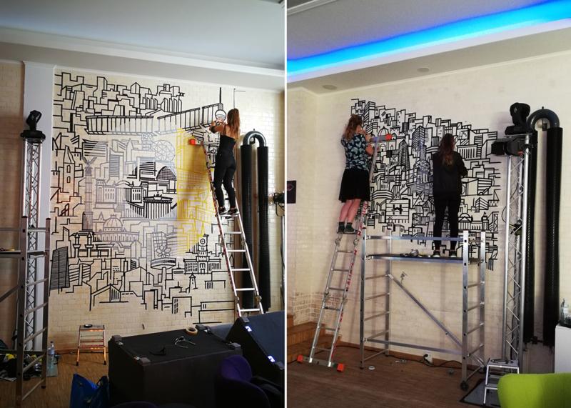 Selfmadecrew at work- interior design- tape art for Smart and Mercedes