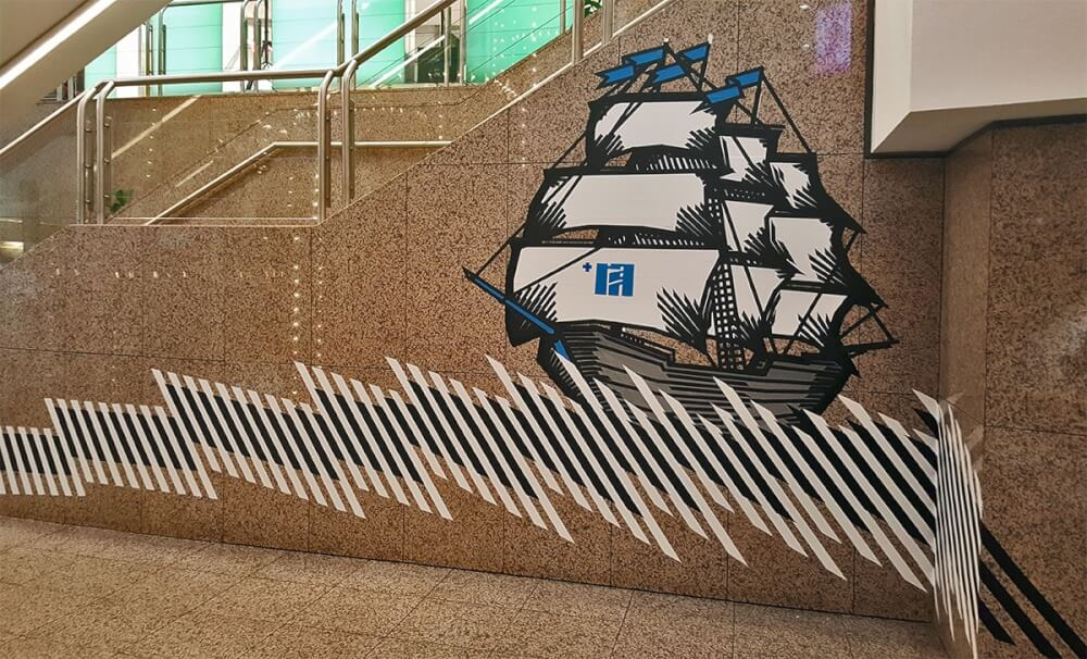 Sailing Ship- Live Tape Mural Art by Selfmade Crew-Urban Art Festival