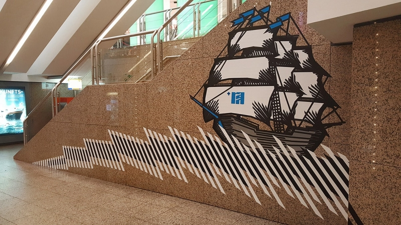 Sailing Ship-Duct Tape Mural by Selfmade Crew