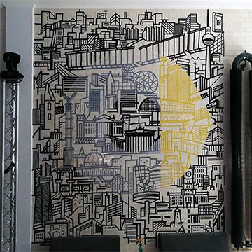 Skyline-Tape-Art-Wand-Graffiti- Auftrag-Mercedes und Smart-Vorschaubild