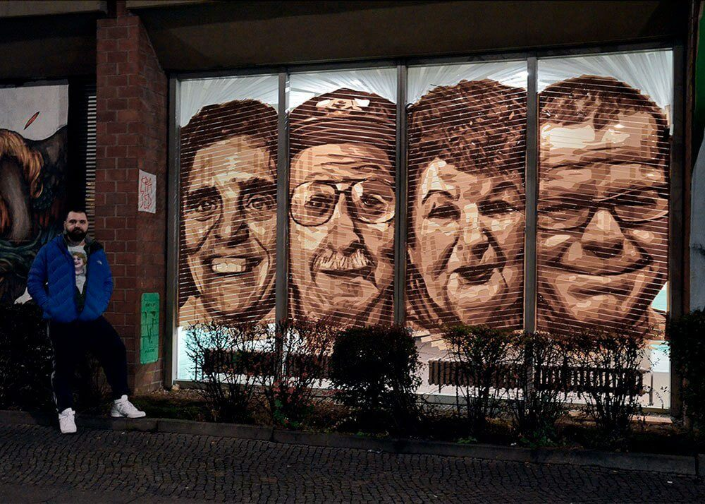 Tape artist Ostap and his street art work- Four Tape Art portraits in the Bülowstr