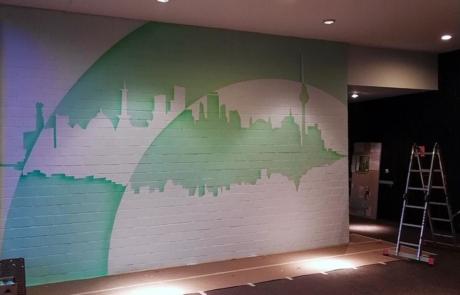 Work in Progress- Graffiti-Kunstwerk im Foyer-Huzur Bülowstraße Projekt
