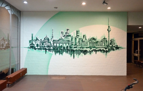 Skyline- Wand-Kunstwerk im Foyer- Soziales Projekt-Urban Nation-2017