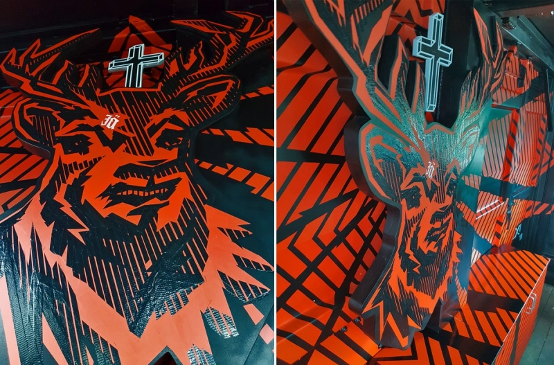 Tape art interpretation of Jägermeister Deer logo