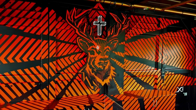 Interior design with adhesive tape- Jägermeister Deer Bar