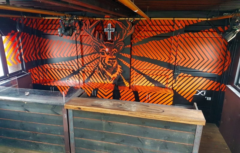 Jägermeister club embellished with tape art