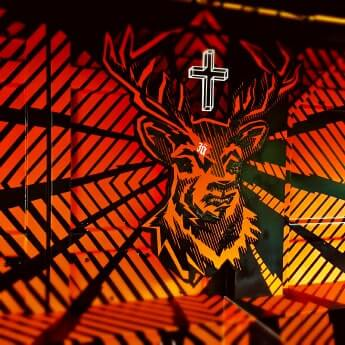 Tape art interior design-Jägermeister Festival Deer Bar Project