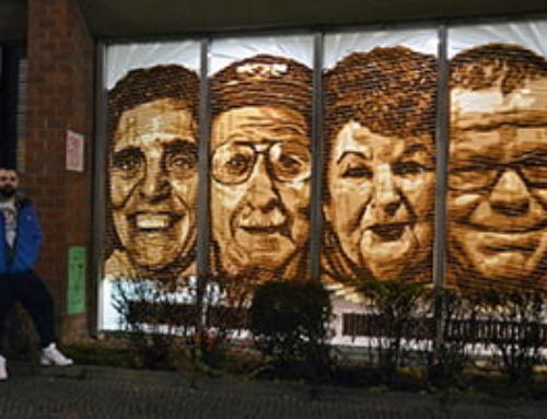 """Huzur""- Street art with brown parcel tape"