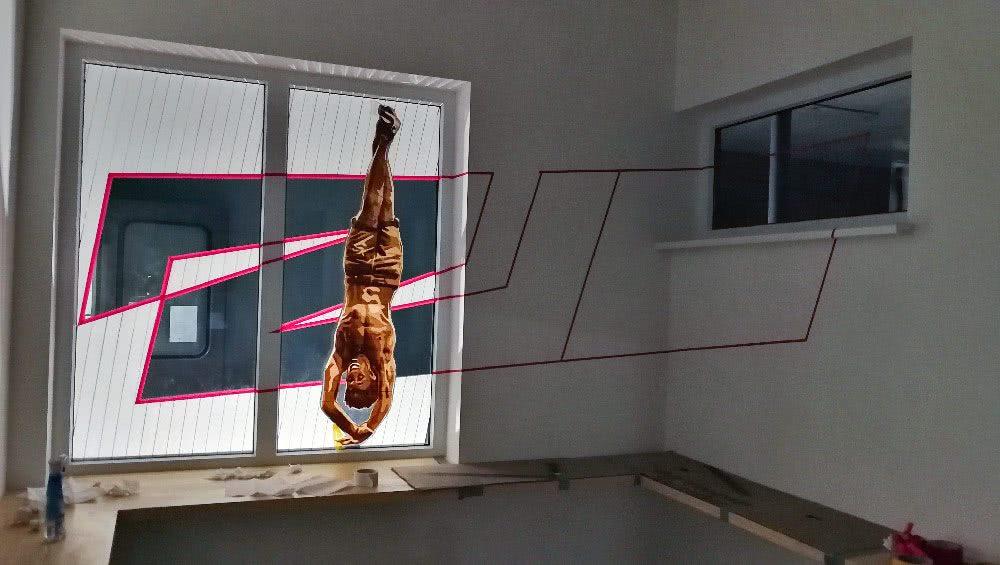 Tape art raumgestaltung f r ein caf tape art ostap for Raumgestaltung cafe