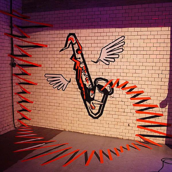 3D Wand-Graffiti mit Klebeband- Auftragskunst und Design von Selfmadecrew