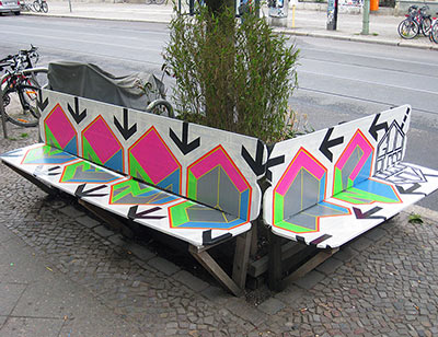 God bless you, Berlin- Bench- Duct tape street art- 2013
