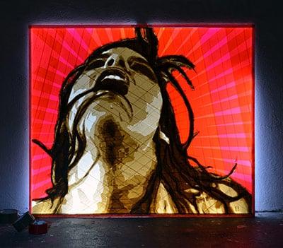 packing tape on lightbox- artwork by Slava Osinski