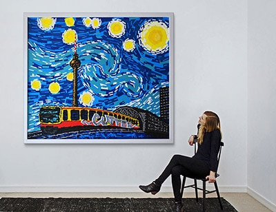 Berlin's starry night- duct tape Vincent Van Gogh painting